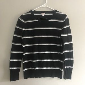 Black Sweater with Gray and White Stripes